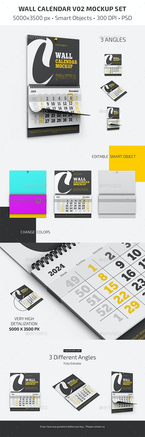 Wall Calendar v02 Mockup Set - Miscellaneous Print