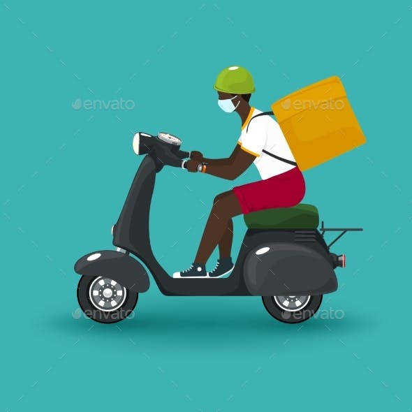 Delivery Man Rides a Scooter