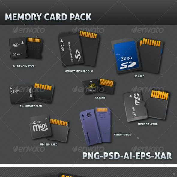 8 Realistic Memory Card 3D Vector