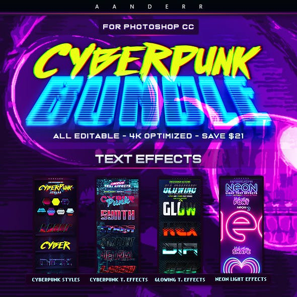 Cyberpunk Photoshop Effects Bundle