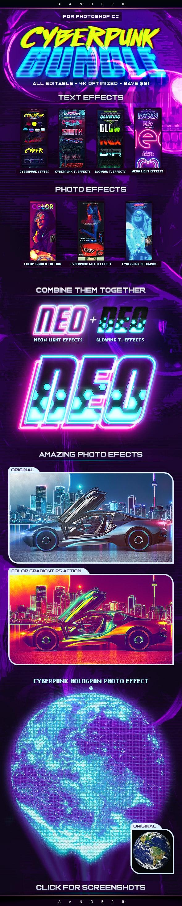 Cyberpunk Photoshop Effects Bundle - Actions Photoshop