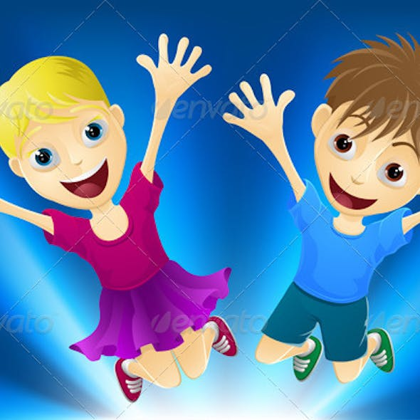 Happy children jumping for joy