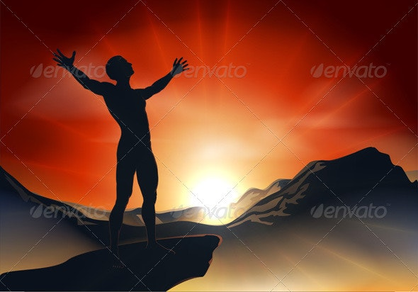 Man on mountaintop with arms out - Religion Conceptual