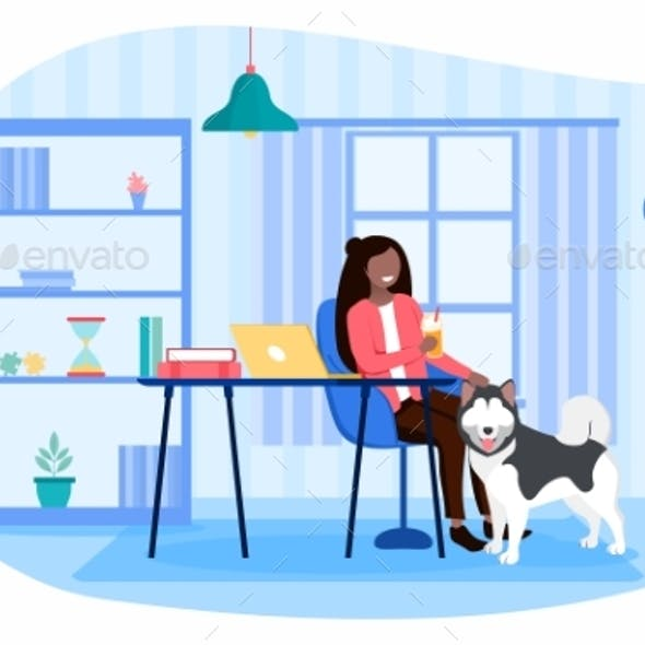 Procrastination Concept with Woman and Her Dog