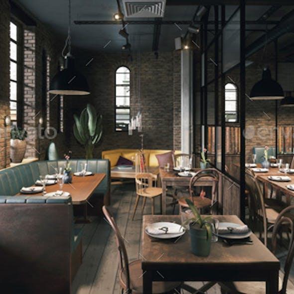 Cozy Loft Style Restaurant Interior