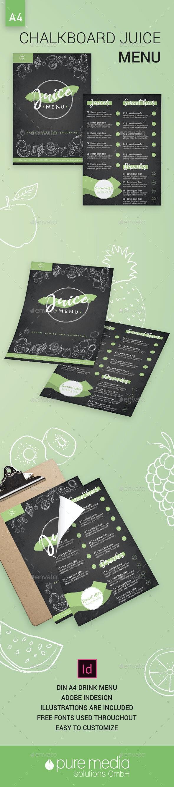 Chalkboard Juice Menu - Food Menus Print Templates
