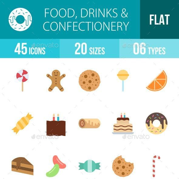 Food, Drinks & Confectionery Flat Icons