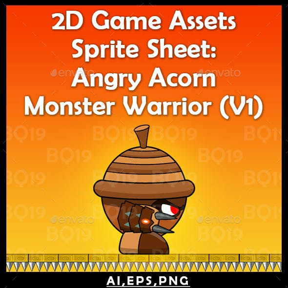 2d Game Assets Sprite Sheet: Angry Acorn