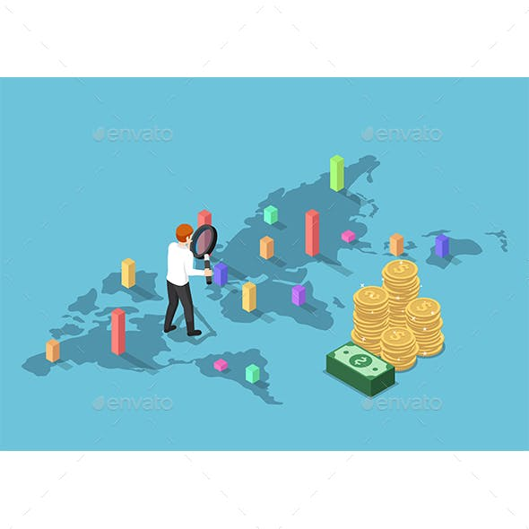 Isometric Businessman Use Magnifying Glass to Analyse Graph Each Country on World Map