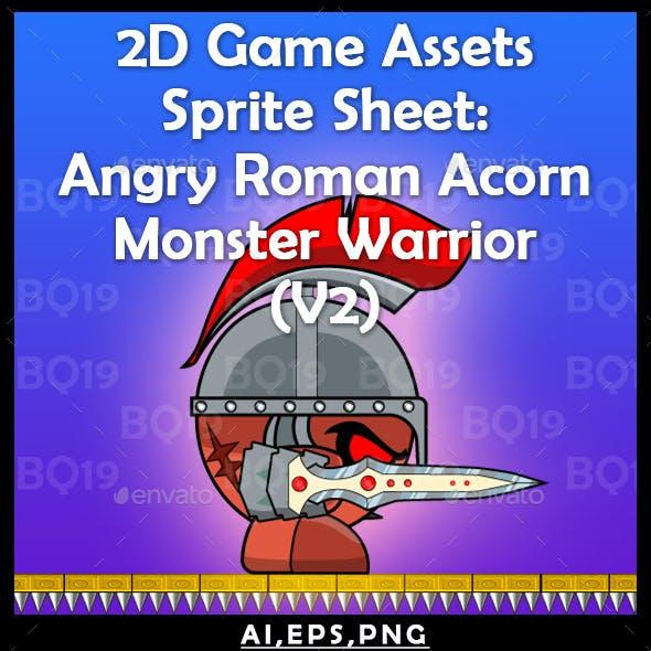 2D Game Assets Sprite Sheet: Angry Roman Acorn Monster Warrior (V2)