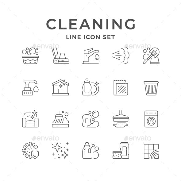 Set Line Icons of Cleaning