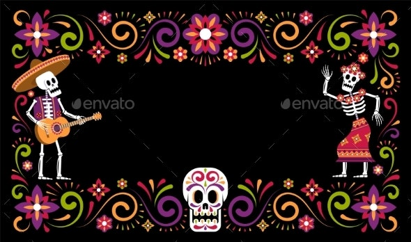 Dia De Muertos Day of Dead Ornamental Frame with - Flowers & Plants Nature