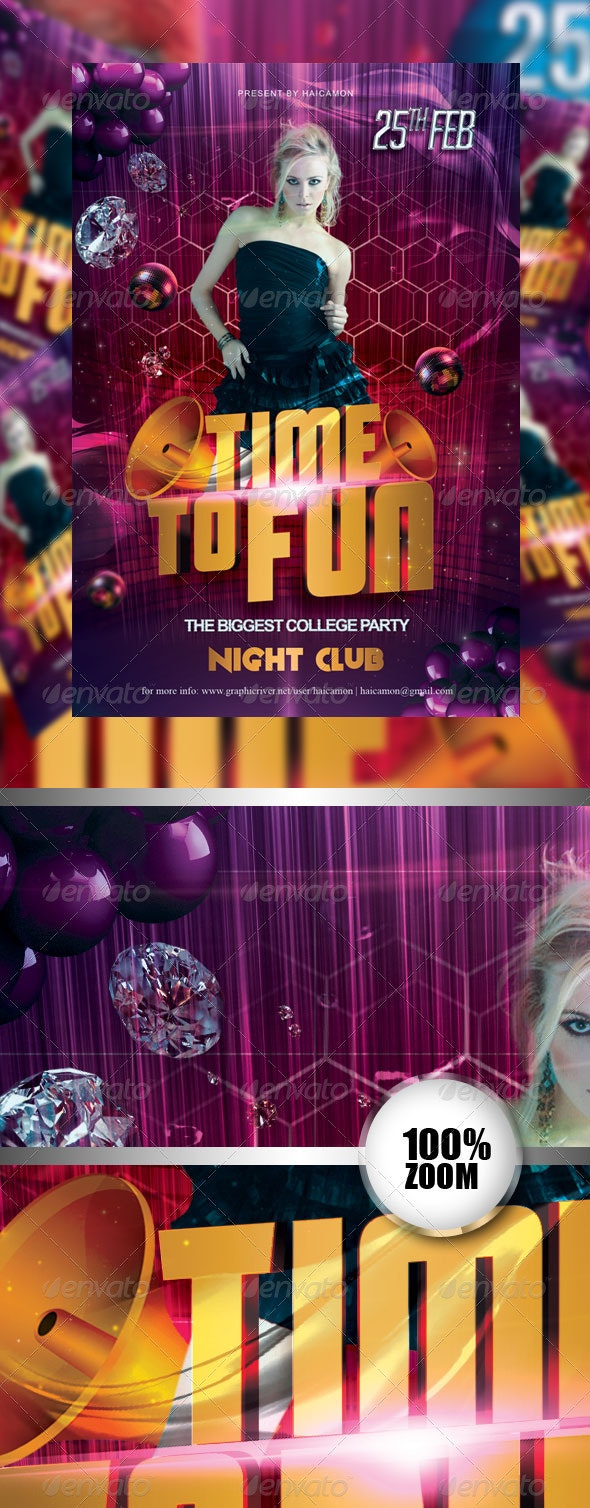 Time To Fun Party Flyer - Flyers Print Templates