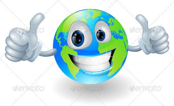 Globe earth mascot with thumbs up - Characters Vectors
