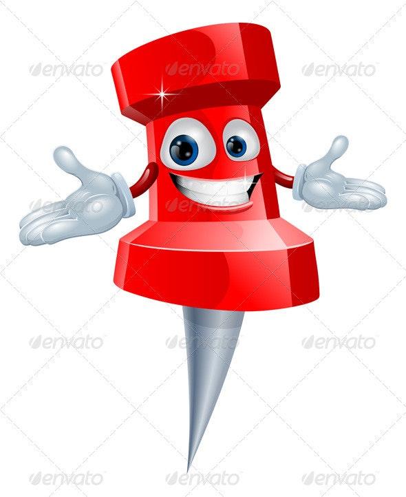 Push pin office supply mascot - Characters Vectors