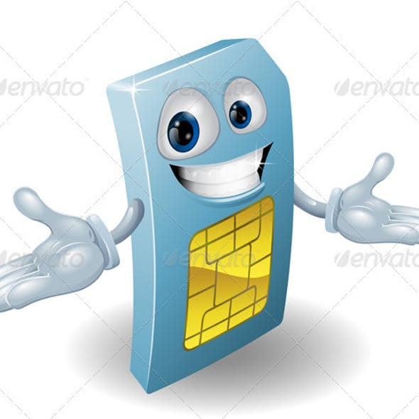 Mobile phone sim card mascot