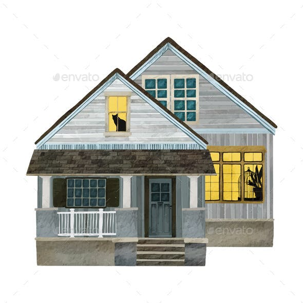 Watercolor Portrait of a Cozy House or Cottage