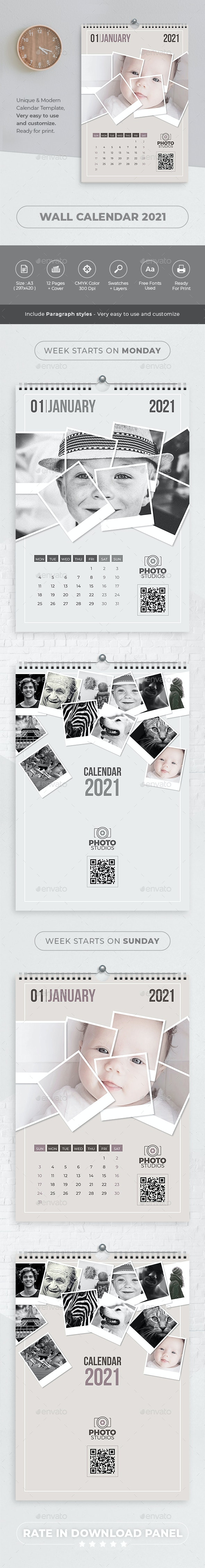 Wall Calendar 2021. Polaroid Photo - Calendars Stationery