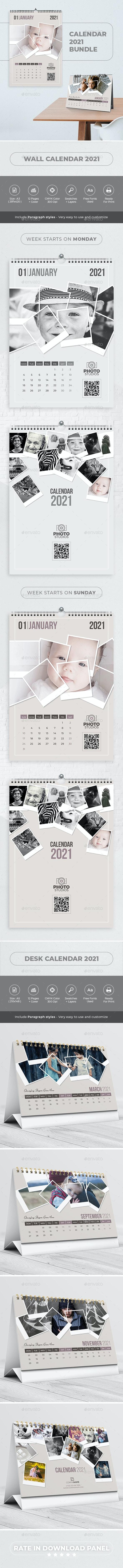 Calendar 2021. Polaroid Photo Bundle V04 - Calendars Stationery
