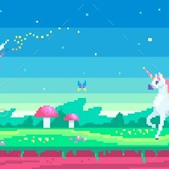 Pixel Art Scene With A Magical Unicorn And Fairy