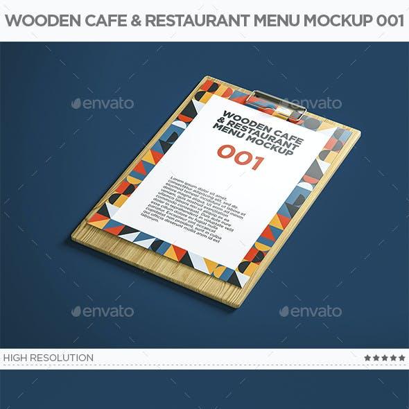 Wooden Cafe & Restaurant Menu Mockup 001