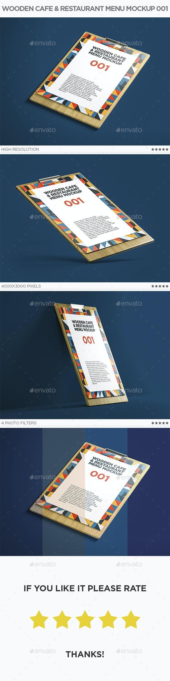 Wooden Cafe & Restaurant Menu Mockup 001 - Miscellaneous Print