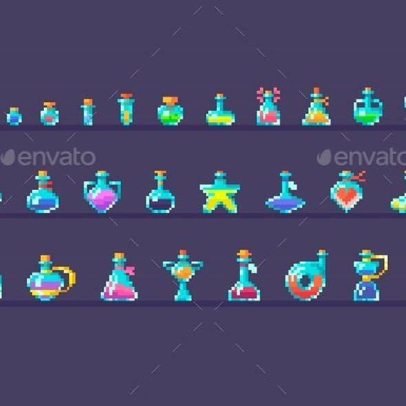 Pixel Art Set Of Glass Bottles Different Forms And Sizes