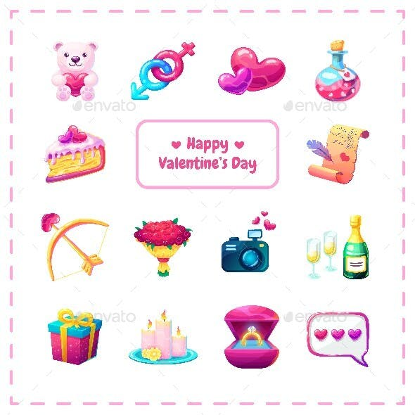 Cute Romantic Stickers Set For Valentine's Day Dating.