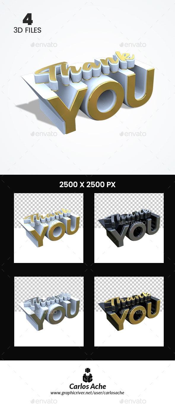 Thank You 3D Render - Text 3D Renders
