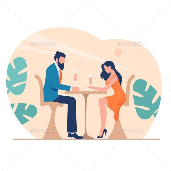 Romantic Dinner at Restaurant Illustration. Happy