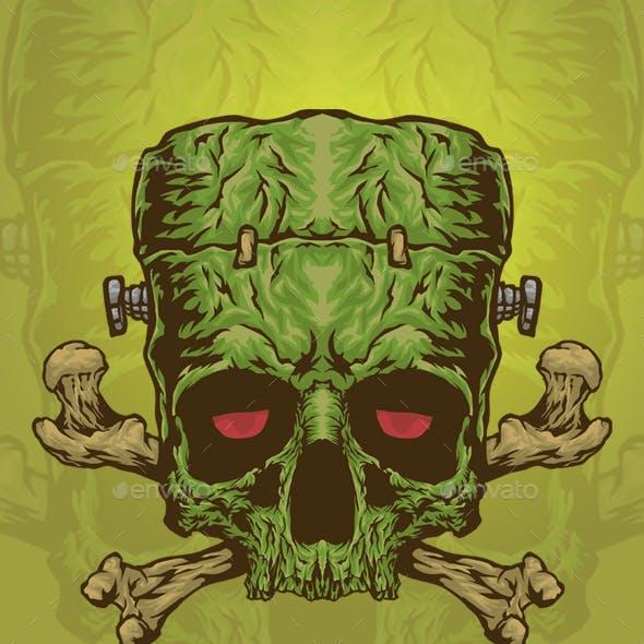 Frankenstein Skull Vector Logo Illustration