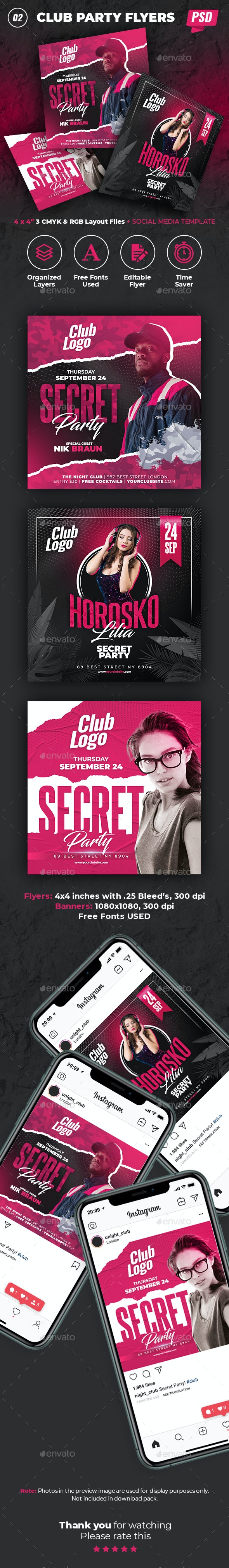 Club Party Flyers and Banners