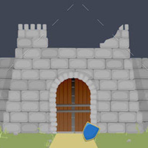 Ruined Medieval Fortress Illustration. Broken