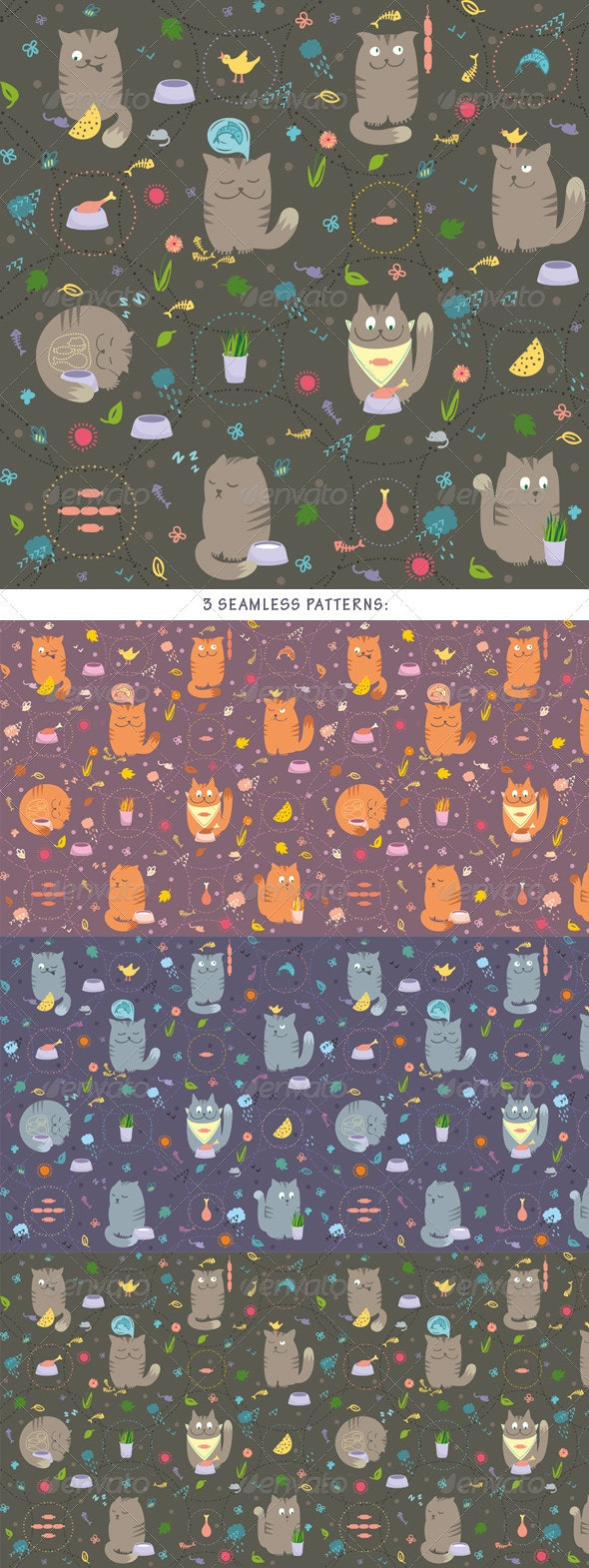 Seamless Pattern - Cats With Foods - Backgrounds Decorative