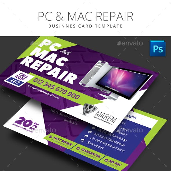 PC and Mac Repair Business Card