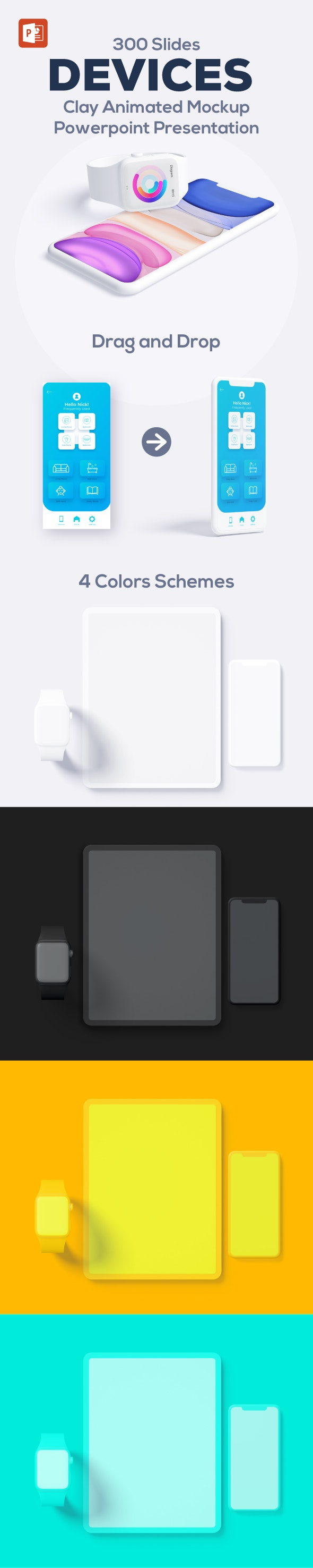 Animated Device Mockup PowerPoint Presentation Template - Business PowerPoint Templates