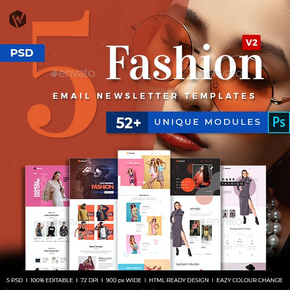 5 Fashion Email Newsletter PSD Templates v2