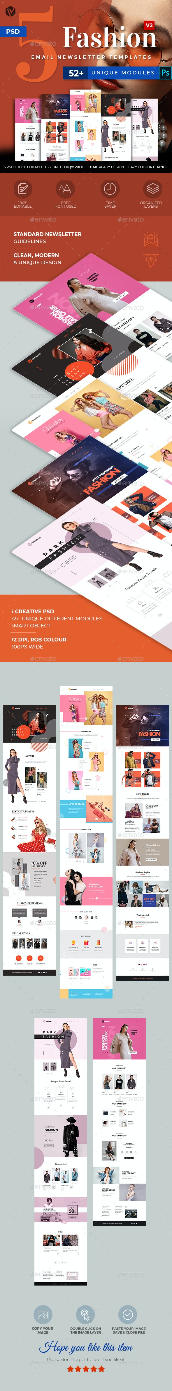 5 Fashion Email Newsletter PSD Templates v2 - E-newsletters Web Elements