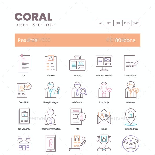 80 Resume Icons - Coral Series