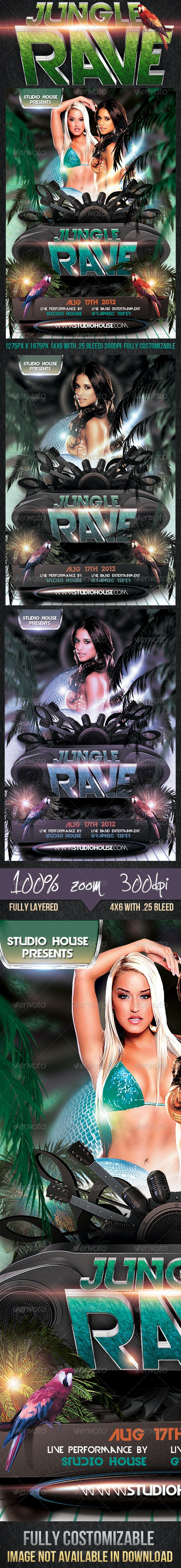 Jungle Rave Party Flyer - Clubs & Parties Events