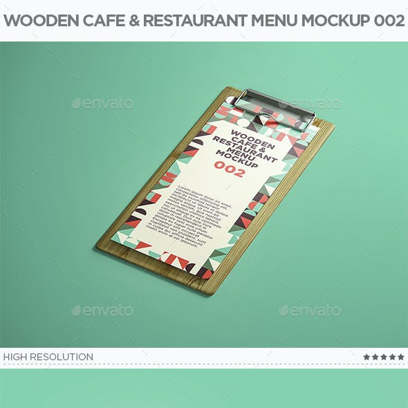 Wooden Cafe & Restaurant Menu Mockup 002