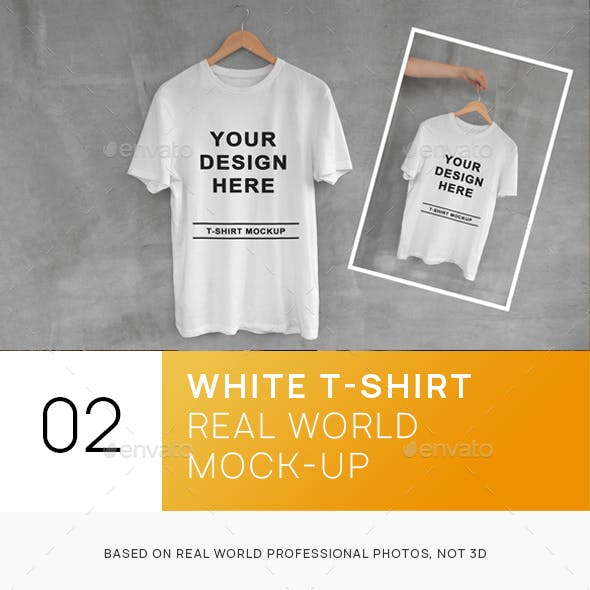 White T-Shirt on Hanger with Concrete Background Mockups