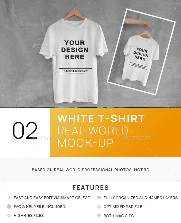 White T-Shirt on Hanger with Concrete Background Mockups - T-shirts Apparel
