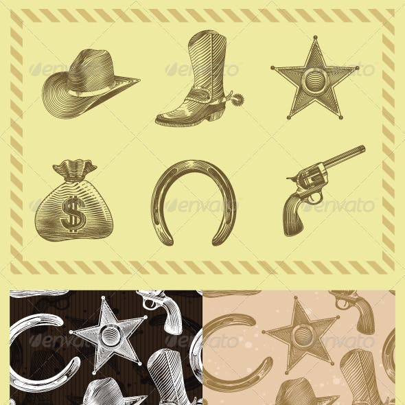 Cowboy Design Set In Engraving style