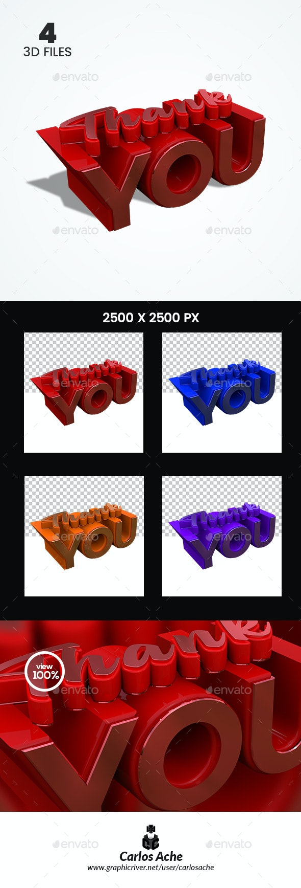 Thank You Colors 3D Render - Text 3D Renders