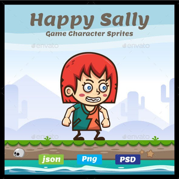 Happy Sally Sprites - 2D Game Asset