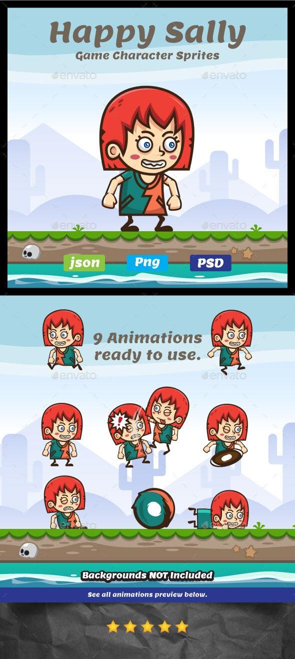 Happy Sally Sprites - 2D Game Asset - Sprites Game Assets