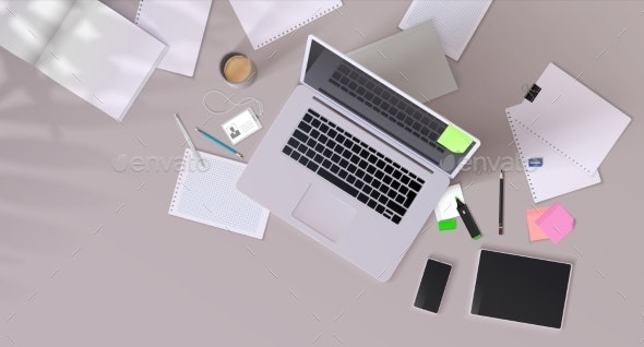 Office Desk Realistic Mockup with Modern Devices - Computers Technology