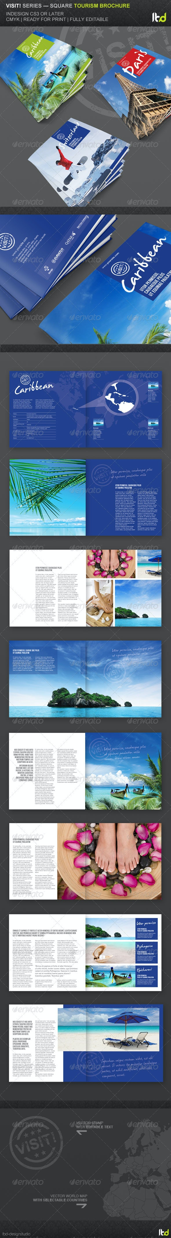Visit! Series - Square Tourism Brochure - Brochures Print Templates