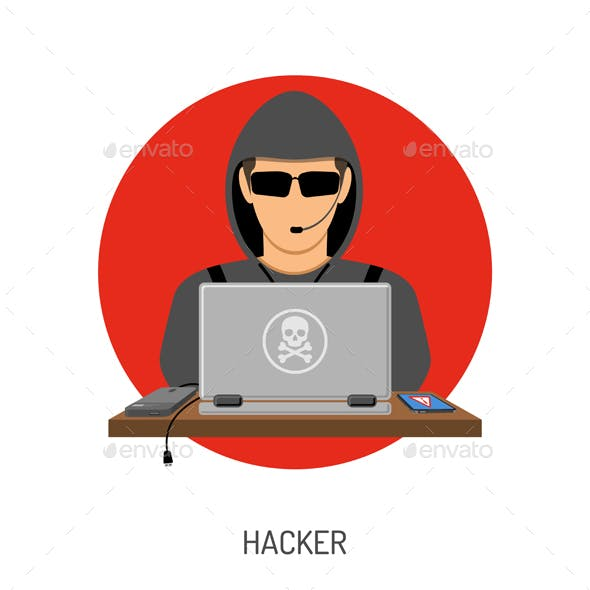 Cyber Crime with Hacker Avatar